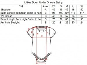 Littles Down Under Onesie Sizing