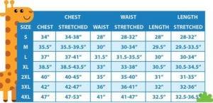 Adult Onesie size chart