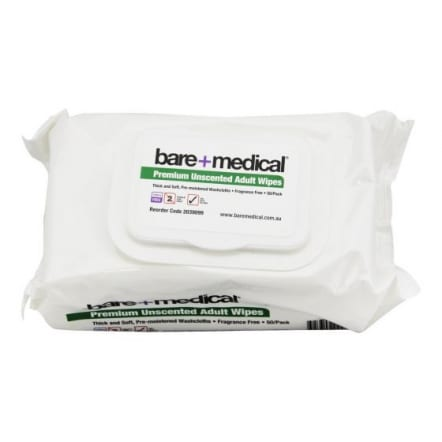 Bare Medical Adult Size Unscented Wipes 50 Per Pack