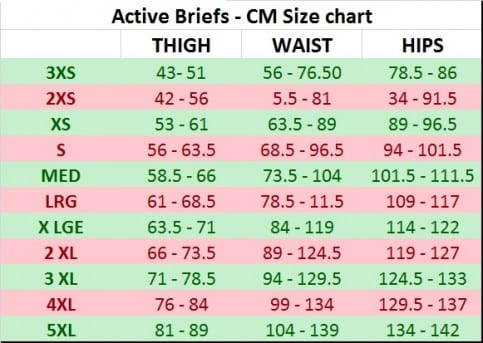 Active Brief Size Chart