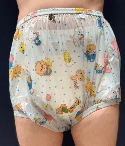 High waist blue carousel Adult plastic pants